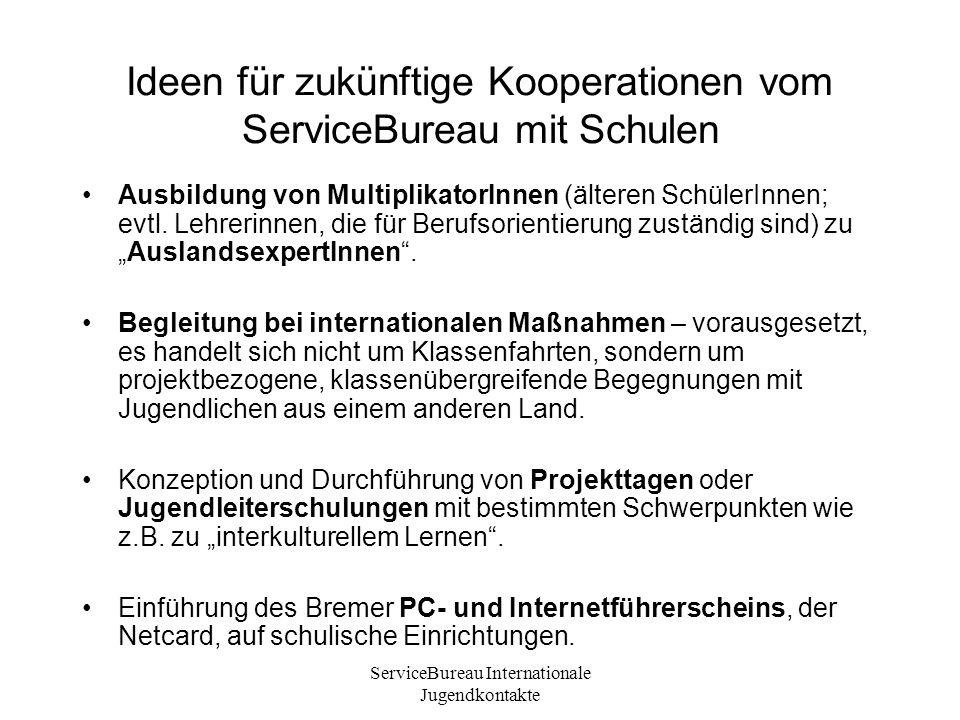 ServiceBureau Internationale Jugendkontakte Ideen für zukünftige Kooperationen vom ServiceBureau mit Schulen Ausbildung von MultiplikatorInnen (älteren SchülerInnen; evtl.