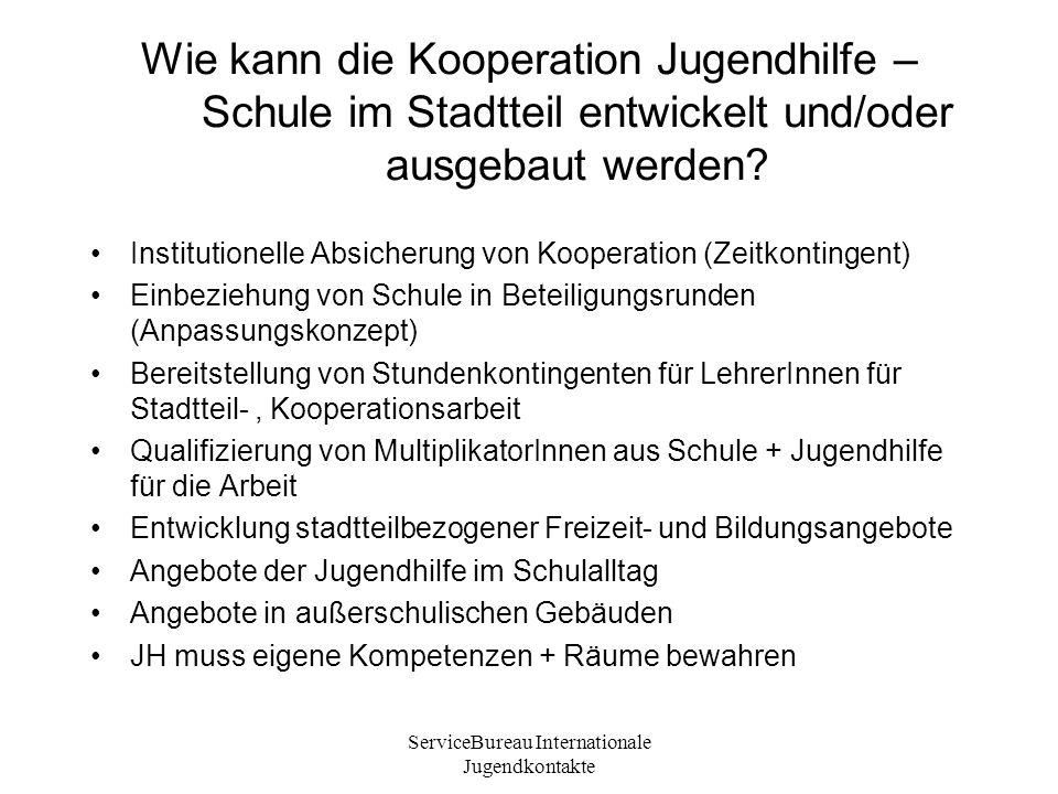 ServiceBureau Internationale Jugendkontakte Wie kann die Kooperation Jugendhilfe – Schule im Stadtteil entwickelt und/oder ausgebaut werden.