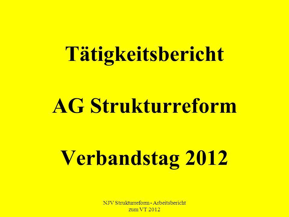 NJV Strukturreform - Arbeitsbericht zum VT 2012 Tätigkeitsbericht AG Strukturreform Verbandstag 2012
