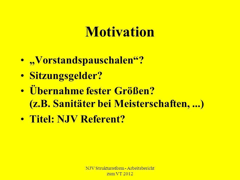"""NJV Strukturreform - Arbeitsbericht zum VT 2012 Motivation """"Vorstandspauschalen""""? Sitzungsgelder? Übernahme fester Größen? (z.B. Sanitäter bei Meister"""
