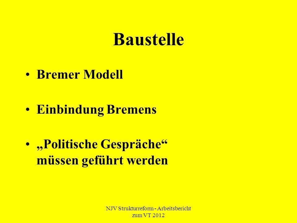 """NJV Strukturreform - Arbeitsbericht zum VT 2012 Baustelle Bremer Modell Einbindung Bremens """"Politische Gespräche müssen geführt werden"""