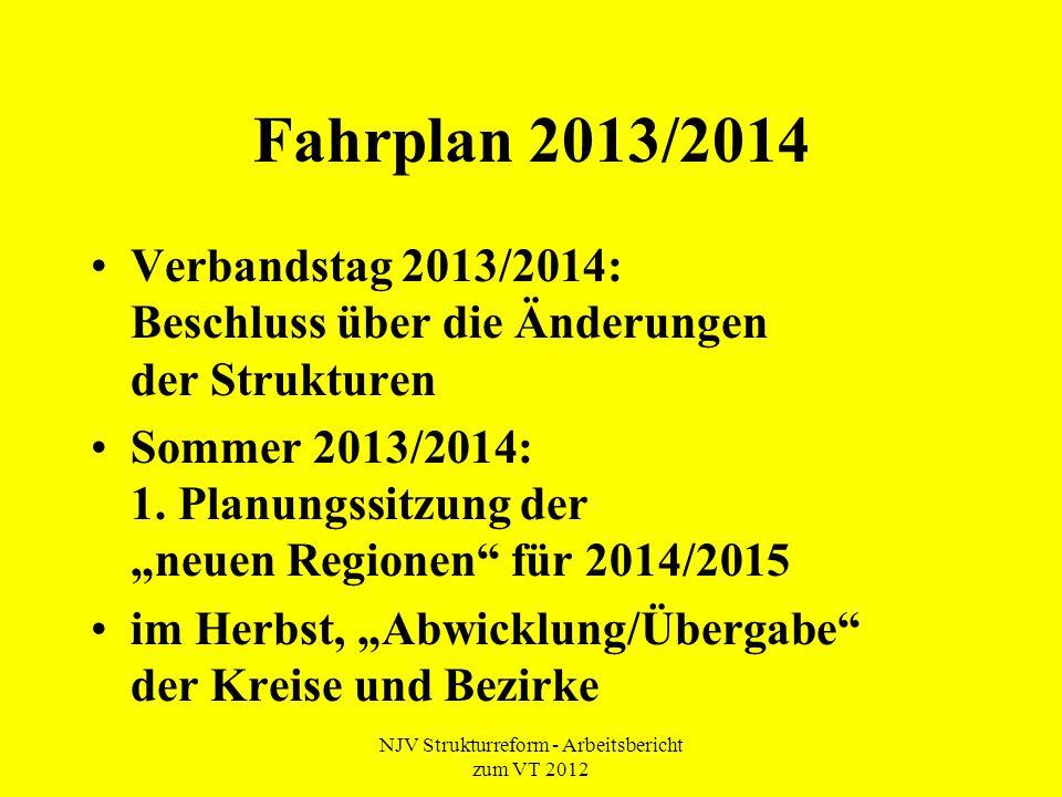 NJV Strukturreform - Arbeitsbericht zum VT 2012 Fahrplan 2013/2014 Verbandstag 2013/2014: Beschluss über die Änderungen der Strukturen Sommer 2013/2014: 1.