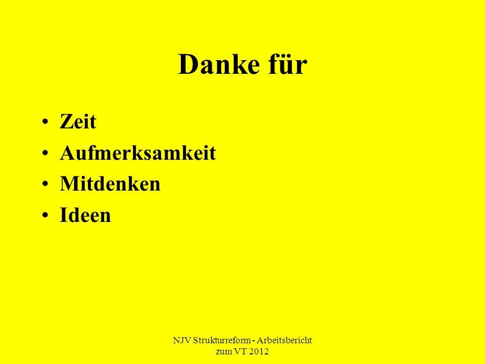 NJV Strukturreform - Arbeitsbericht zum VT 2012 Danke für Zeit Aufmerksamkeit Mitdenken Ideen