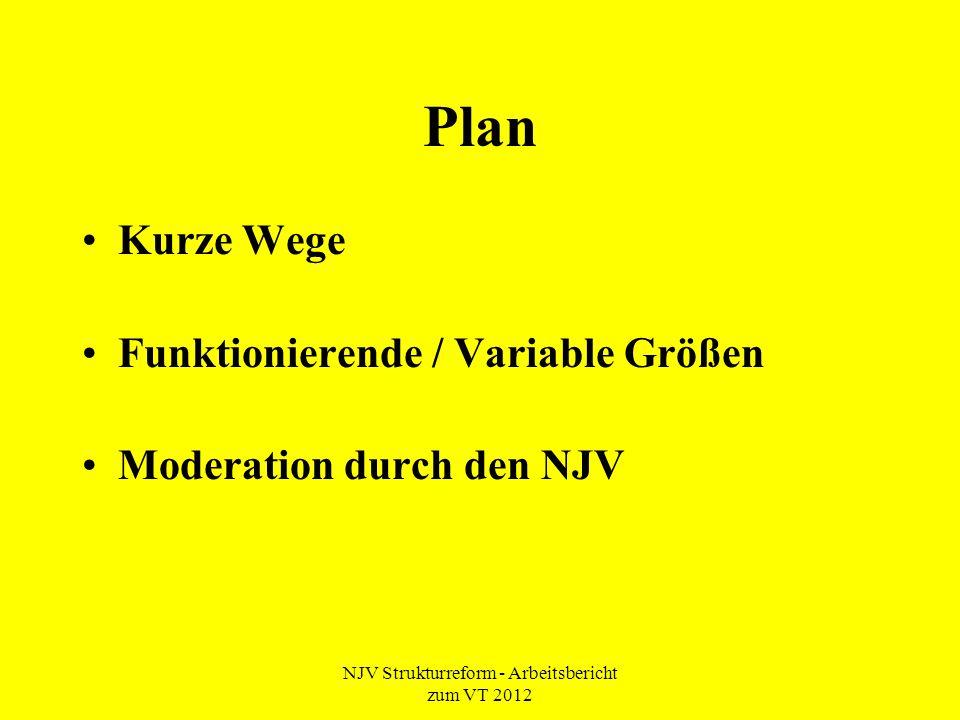 NJV Strukturreform - Arbeitsbericht zum VT 2012 Plan Kurze Wege Funktionierende / Variable Größen Moderation durch den NJV