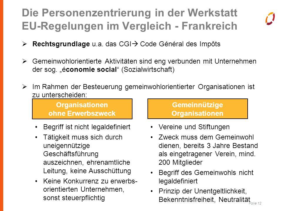 Folie 12 Die Personenzentrierung in der Werkstatt EU-Regelungen im Vergleich - Frankreich  Rechtsgrundlage u.a.