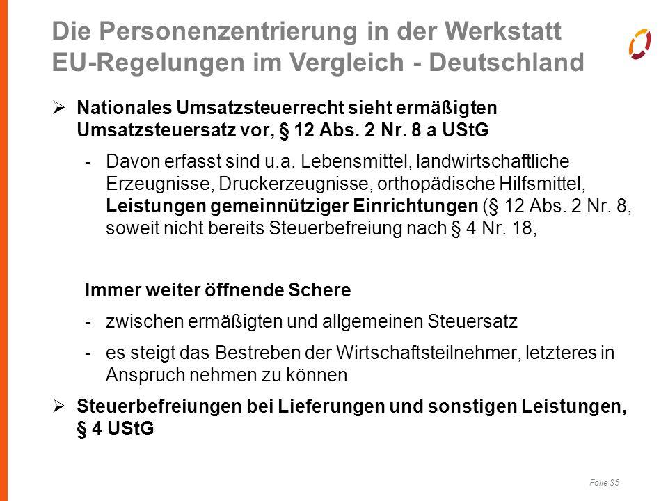 Folie 35  Nationales Umsatzsteuerrecht sieht ermäßigten Umsatzsteuersatz vor, § 12 Abs.