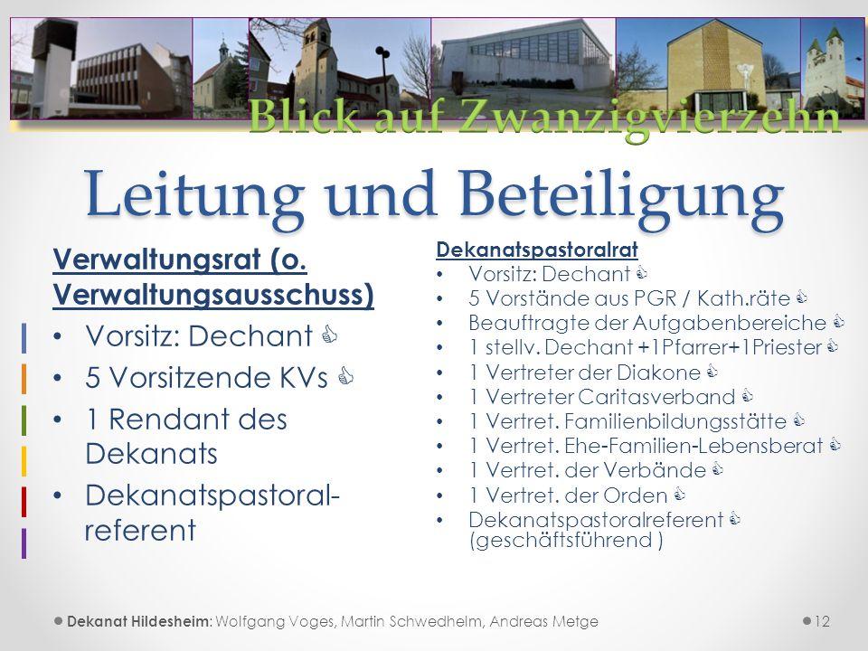 Leitung und Beteiligung 12 Dekanat Hildesheim : Wolfgang Voges, Martin Schwedhelm, Andreas Metge Verwaltungsrat (o.