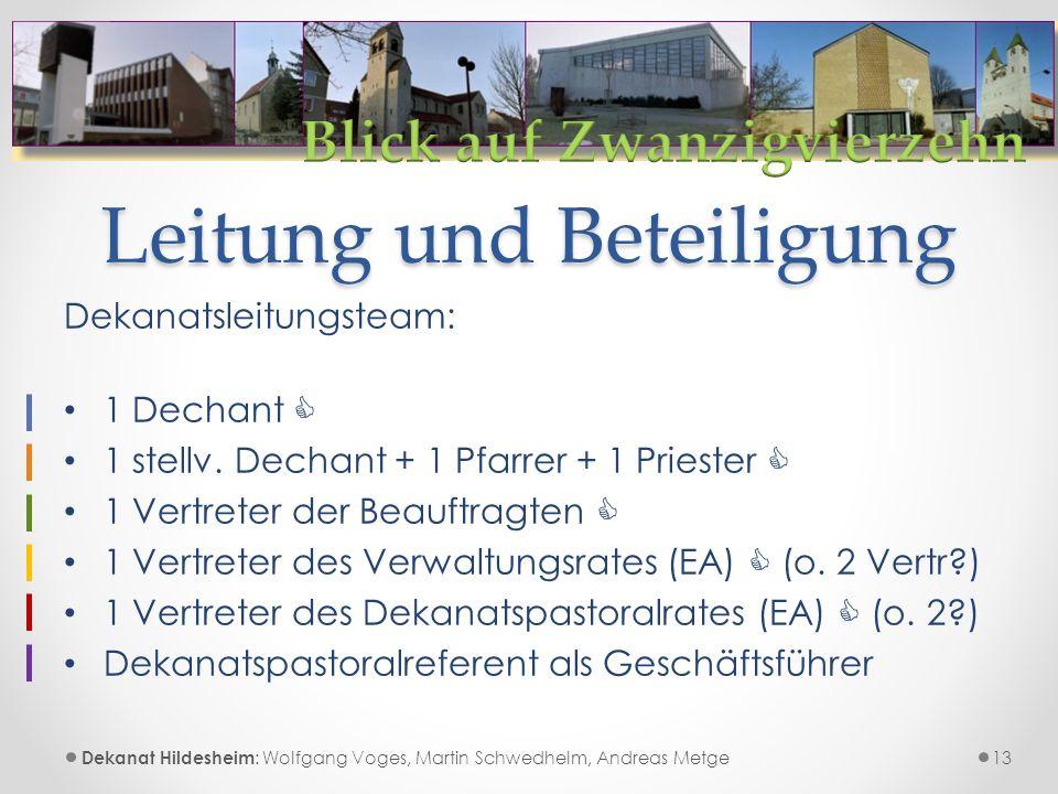 Leitung und Beteiligung 13 Dekanat Hildesheim : Wolfgang Voges, Martin Schwedhelm, Andreas Metge Dekanatsleitungsteam: 1 Dechant  1 stellv.