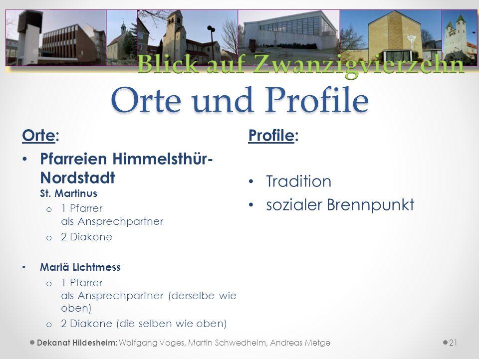 Orte und Profile Profile: Tradition sozialer Brennpunkt 21 Orte: Pfarreien Himmelsthür- Nordstadt St.