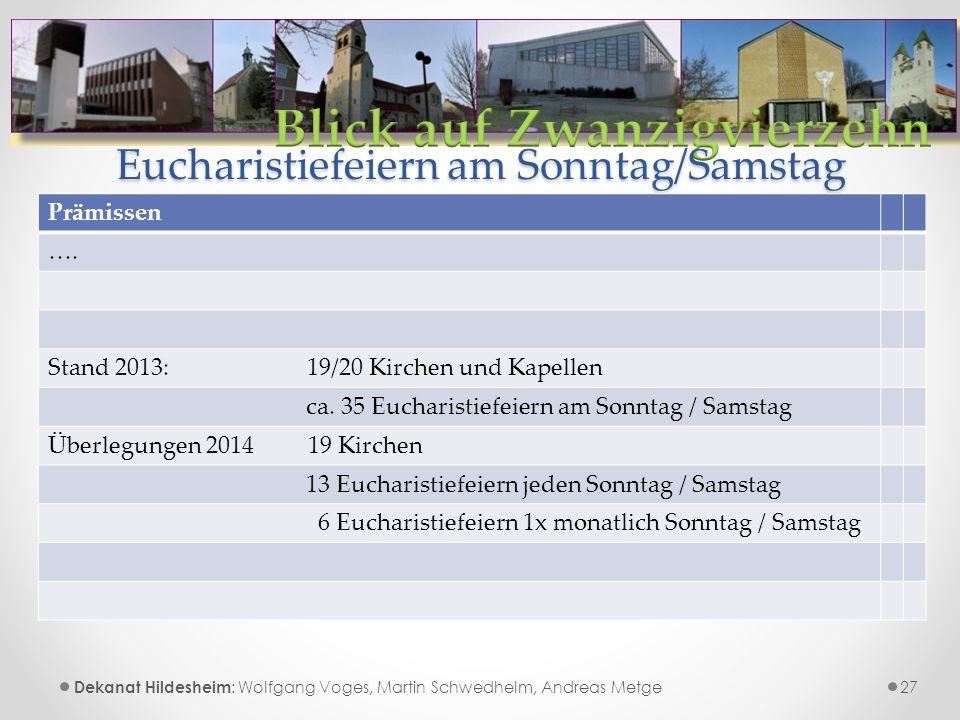 Eucharistiefeiern am Sonntag/Samstag 27 Dekanat Hildesheim : Wolfgang Voges, Martin Schwedhelm, Andreas Metge Prämissen ….