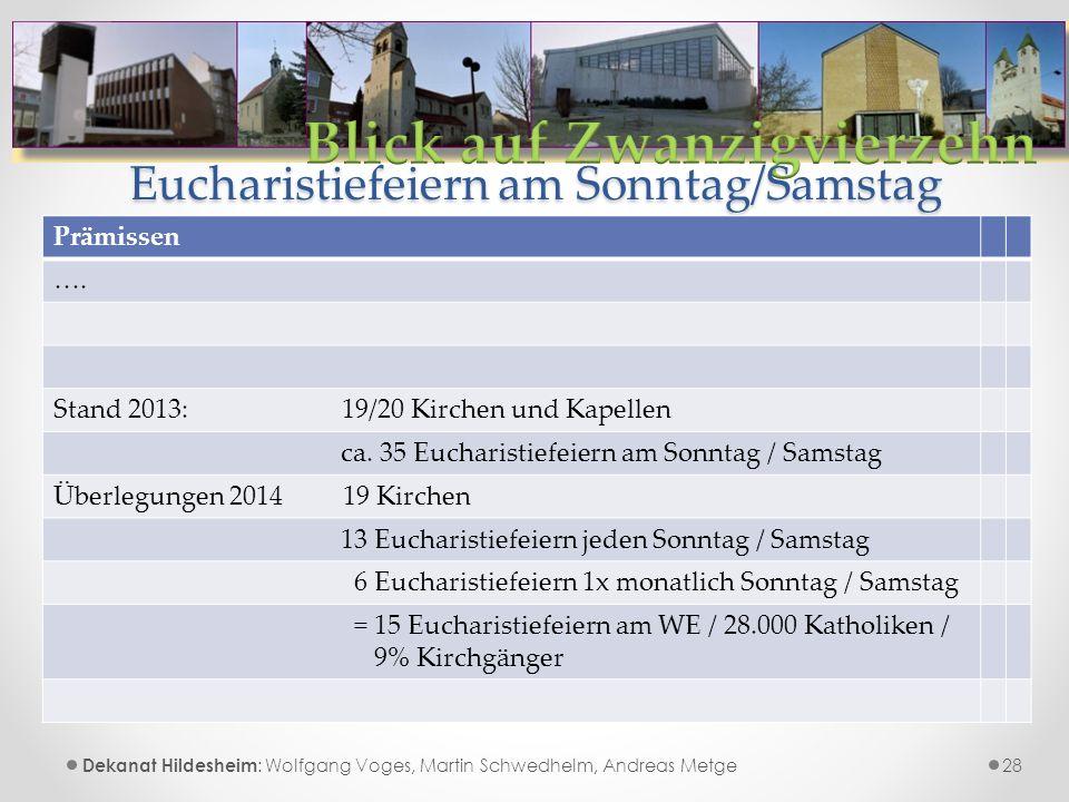 Eucharistiefeiern am Sonntag/Samstag 28 Dekanat Hildesheim : Wolfgang Voges, Martin Schwedhelm, Andreas Metge Prämissen ….