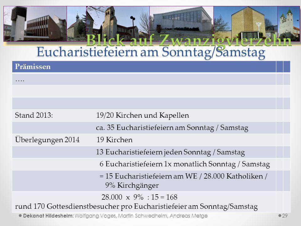 Eucharistiefeiern am Sonntag/Samstag 29 Dekanat Hildesheim : Wolfgang Voges, Martin Schwedhelm, Andreas Metge Prämissen ….