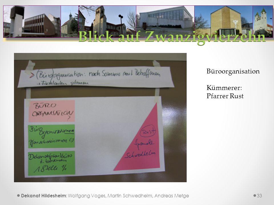 33 Dekanat Hildesheim : Wolfgang Voges, Martin Schwedhelm, Andreas Metge Büroorganisation Kümmerer: Pfarrer Rust