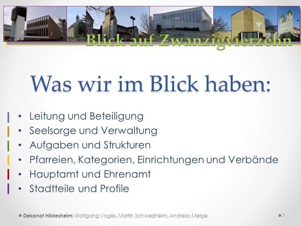 Leitung und Beteiligung 8 Pfarreien, Kategorien, Verbände, Einrichtungen, Institutionen etc.