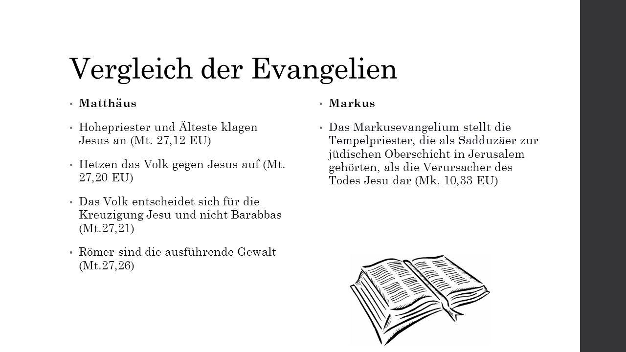 Vergleich der Evangelien Matthäus Hohepriester und Älteste klagen Jesus an (Mt.