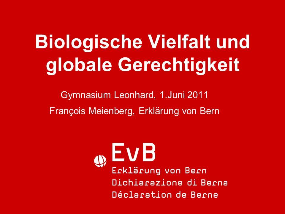 Biologische Vielfalt und globale Gerechtigkeit Gymnasium Leonhard, 1.Juni 2011 François Meienberg, Erklärung von Bern