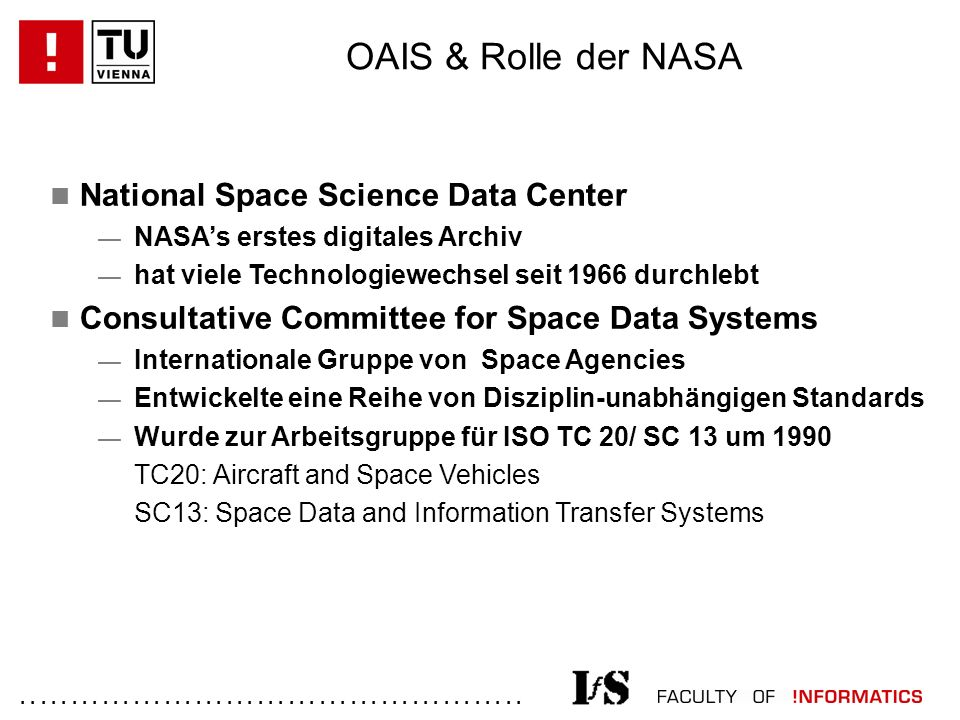 ................................................. National Space Science Data Center — NASA's erstes digitales Archiv — hat viele Technologiewechsel s