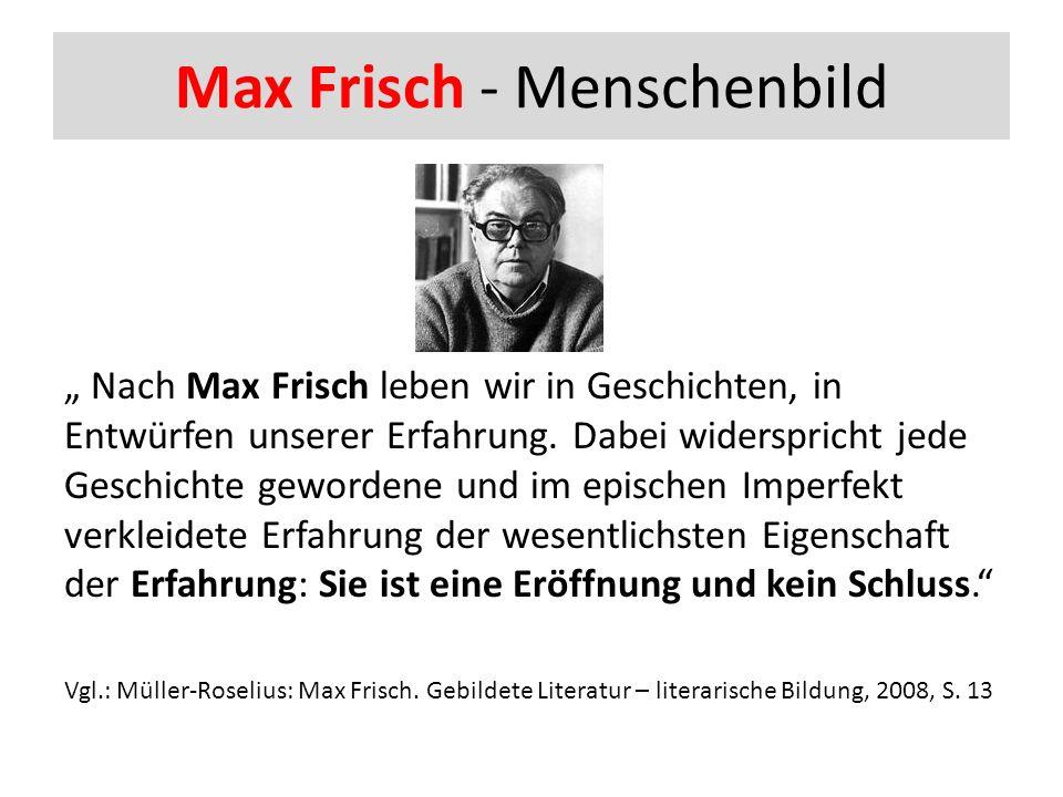"""Max Frisch - Menschenbild """" Nach Max Frisch leben wir in Geschichten, in Entwürfen unserer Erfahrung."""