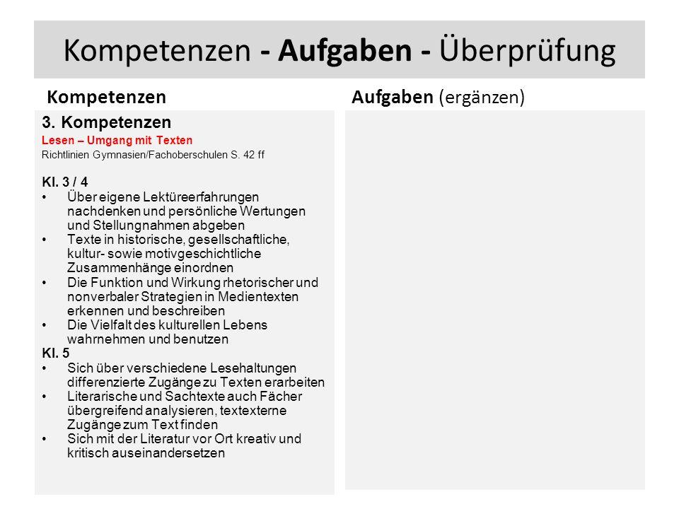 Kompetenzen - Aufgaben - Überprüfung Kompetenzen 3.