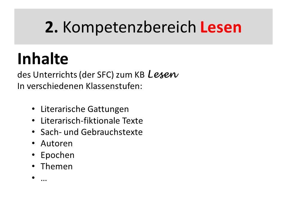 2. Kompetenzbereich Lesen Inhalte des Unterrichts (der SFC) zum KB Lesen In verschiedenen Klassenstufen: Literarische Gattungen Literarisch-fiktionale