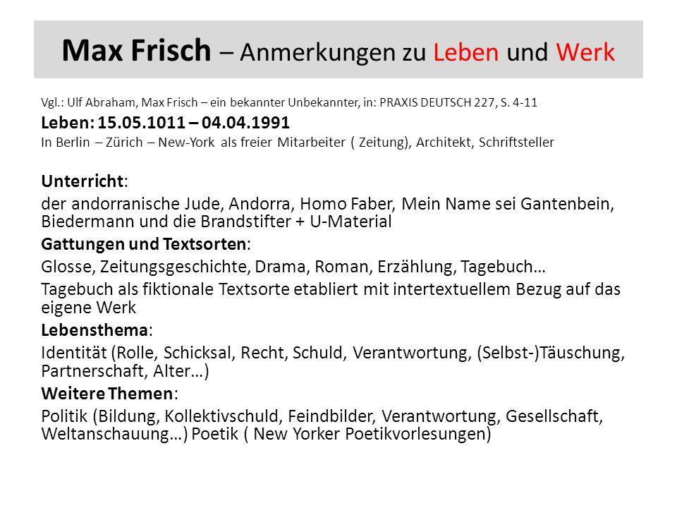 Max Frisch – Anmerkungen zu Leben und Werk Vgl.: Ulf Abraham, Max Frisch – ein bekannter Unbekannter, in: PRAXIS DEUTSCH 227, S.