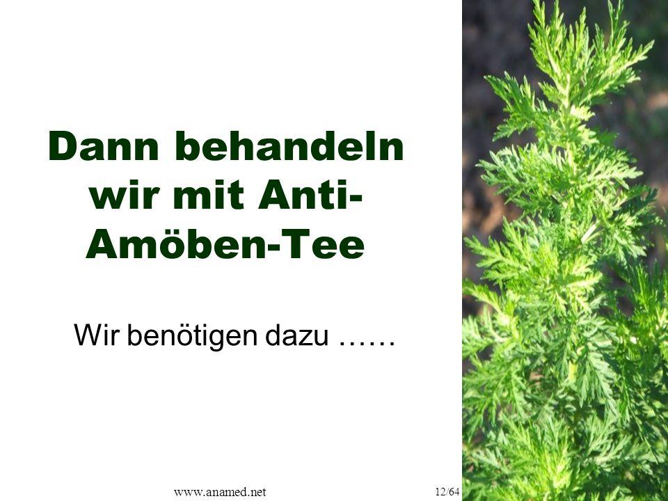 www.anamed.net 12/64 Dann behandeln wir mit Anti- Amöben-Tee Wir benötigen dazu ……