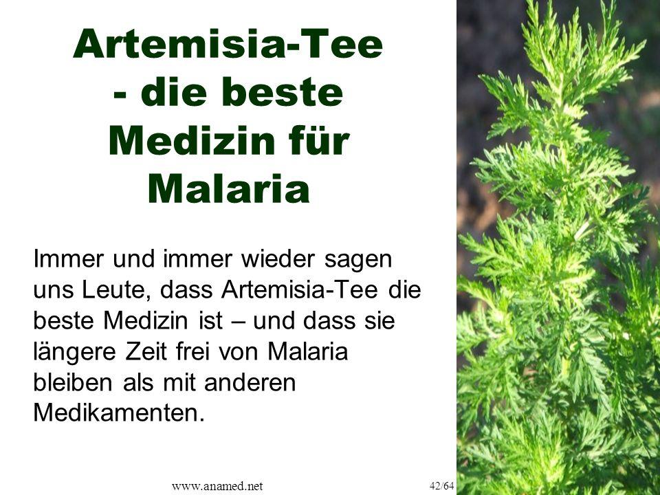 www.anamed.net 42/64 Artemisia-Tee - die beste Medizin für Malaria Immer und immer wieder sagen uns Leute, dass Artemisia-Tee die beste Medizin ist – und dass sie längere Zeit frei von Malaria bleiben als mit anderen Medikamenten.