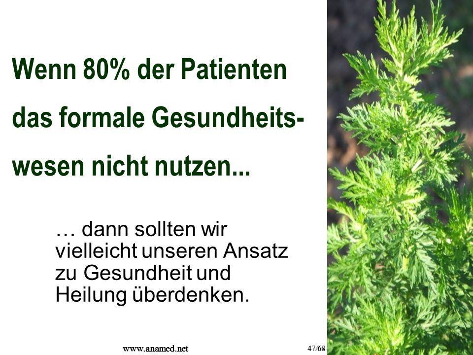 www.anamed.net 47/64 www.anamed.net 47/68 Wenn 80% der Patienten das formale Gesundheits- wesen nicht nutzen...