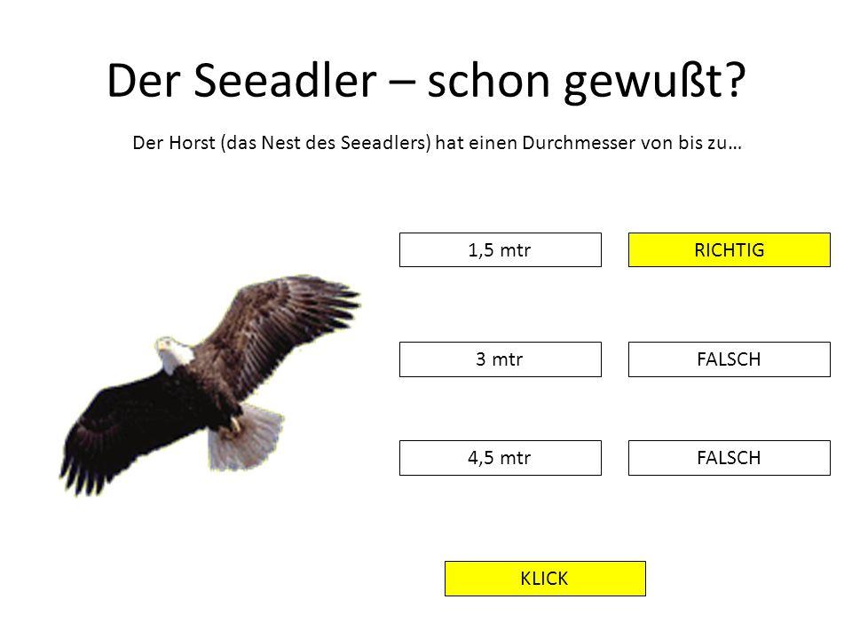 Der Seeadler – schon gewußt? Der Horst (das Nest des Seeadlers) hat einen Durchmesser von bis zu… 1,5 mtr FALSCH RICHTIG 3 mtr 4,5 mtr KLICK