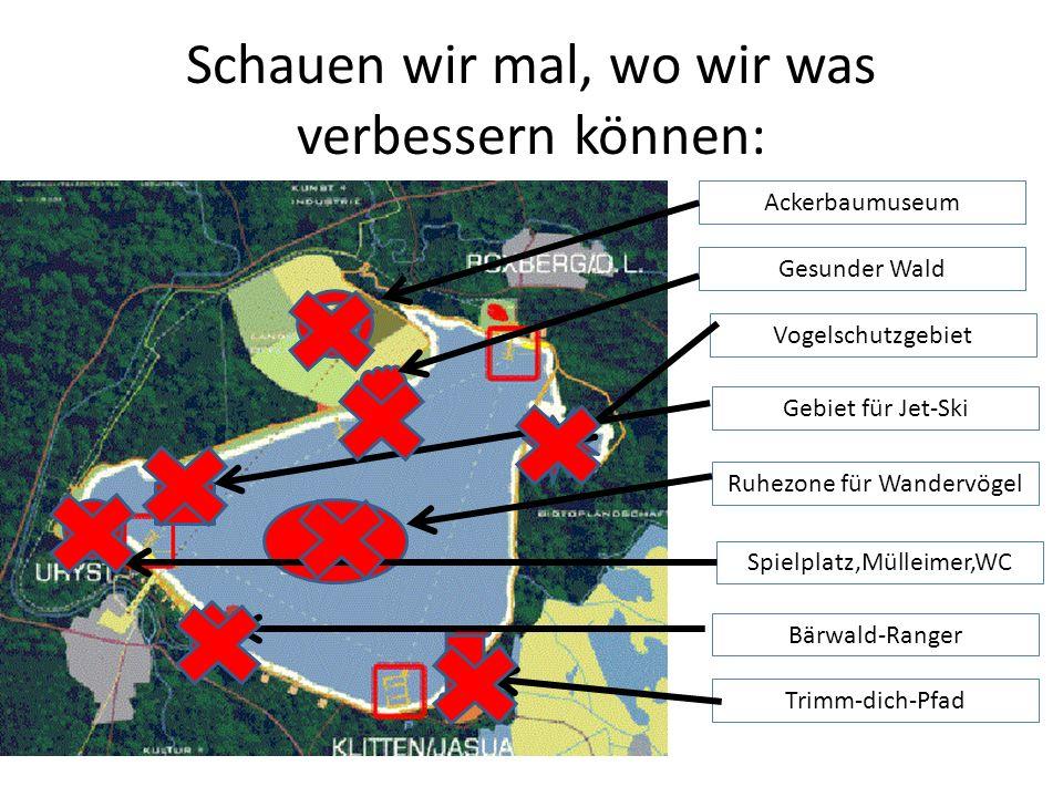 Schauen wir mal, wo wir was verbessern können: Ackerbaumuseum Gesunder Wald Vogelschutzgebiet Gebiet für Jet-Ski Ruhezone für Wandervögel Spielplatz,M