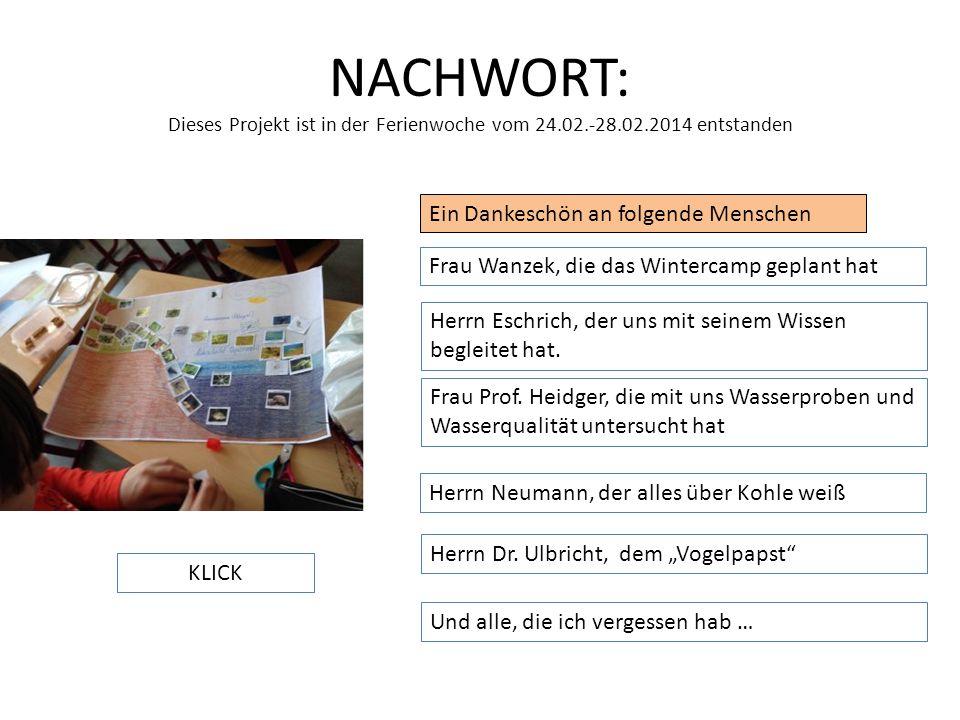 NACHWORT: Dieses Projekt ist in der Ferienwoche vom 24.02.-28.02.2014 entstanden Ein Dankeschön an folgende Menschen Frau Wanzek, die das Wintercamp g