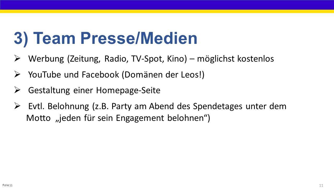 11 Folie 11 3) Team Presse/Medien  Werbung (Zeitung, Radio, TV-Spot, Kino) – möglichst kostenlos  YouTube und Facebook (Domänen der Leos!)  Gestaltung einer Homepage-Seite  Evtl.