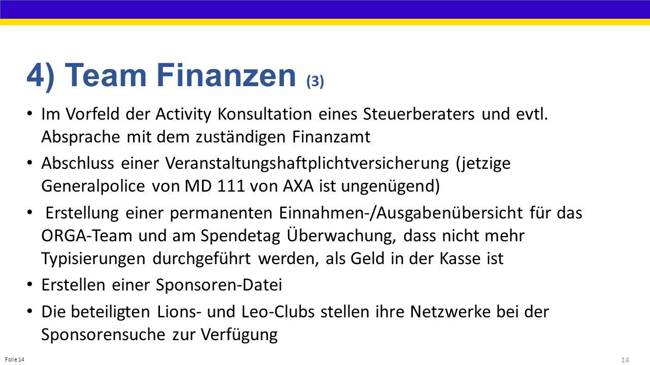 14 Folie 14 4) Team Finanzen (3) Im Vorfeld der Activity Konsultation eines Steuerberaters und evtl.