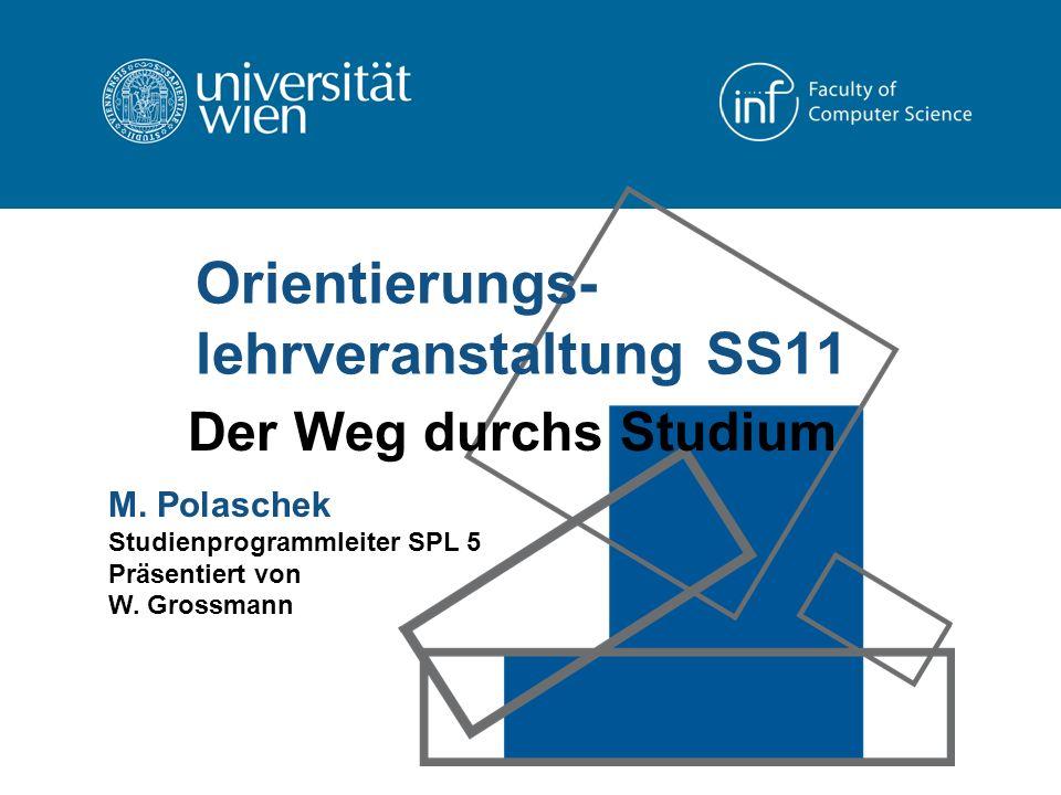 Orientierungs- lehrveranstaltung SS11 Der Weg durchs Studium M.