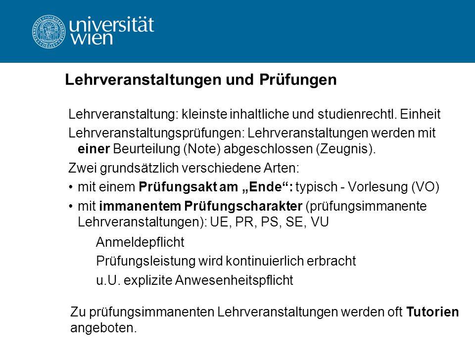 Lehrveranstaltungen und Prüfungen Lehrveranstaltung: kleinste inhaltliche und studienrechtl.