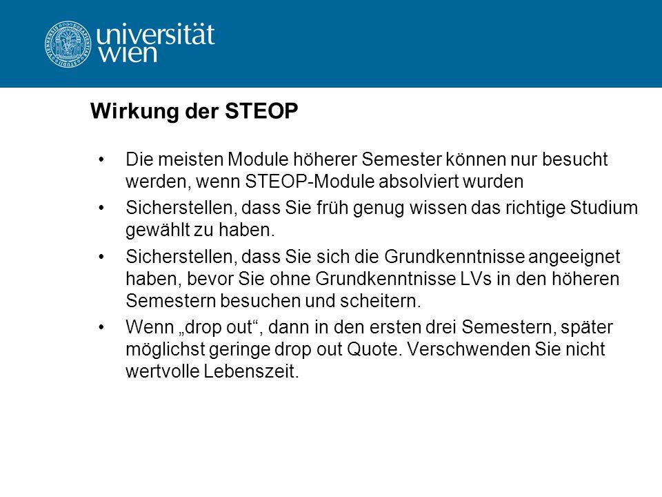 Wirkung der STEOP Die meisten Module höherer Semester können nur besucht werden, wenn STEOP-Module absolviert wurden Sicherstellen, dass Sie früh genug wissen das richtige Studium gewählt zu haben.