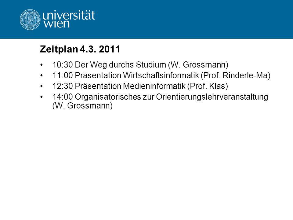 Zeitplan 4.3. 2011 10:30 Der Weg durchs Studium (W.