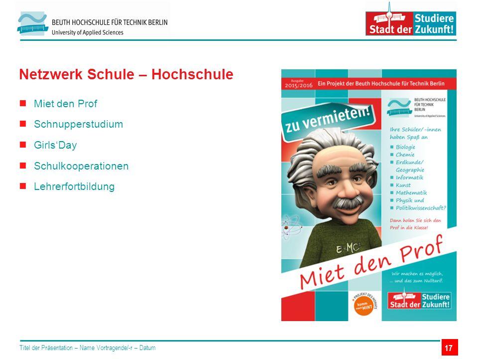 Miet den Prof Schnupperstudium Girls'Day Schulkooperationen Lehrerfortbildung Titel der Präsentation – Name Vortragende/-r – Datum Netzwerk Schule – H