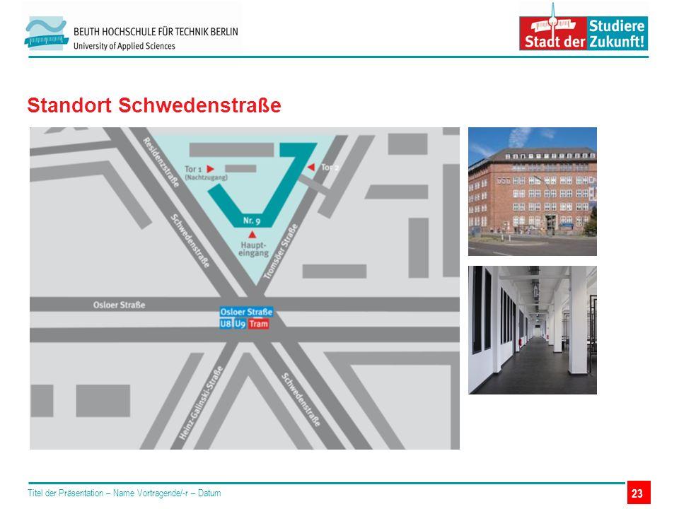 Titel der Präsentation – Name Vortragende/-r – Datum Standort Schwedenstraße 23