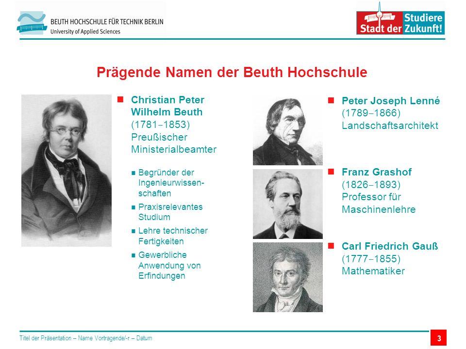 Peter Joseph Lenné (1789 ‒ 1866) Landschaftsarchitekt Franz Grashof (1826 ‒ 1893) Professor für Maschinenlehre Carl Friedrich Gauß (1777 ‒ 1855) Mathe