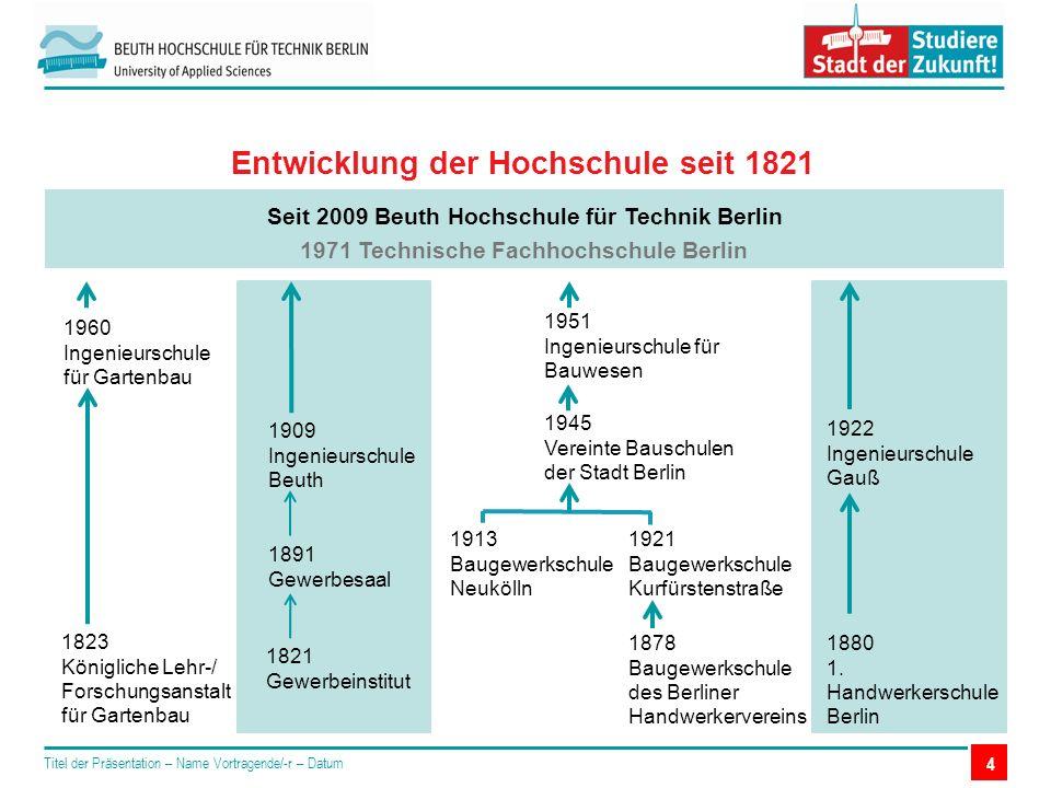 4 Entwicklung der Hochschule seit 1821 Seit 2009 Beuth Hochschule für Technik Berlin 1971 Technische Fachhochschule Berlin 1960 Ingenieurschule für Gartenbau 1823 Königliche Lehr-/ Forschungsanstalt für Gartenbau 1922 Ingenieurschule Gauß 1880 1.