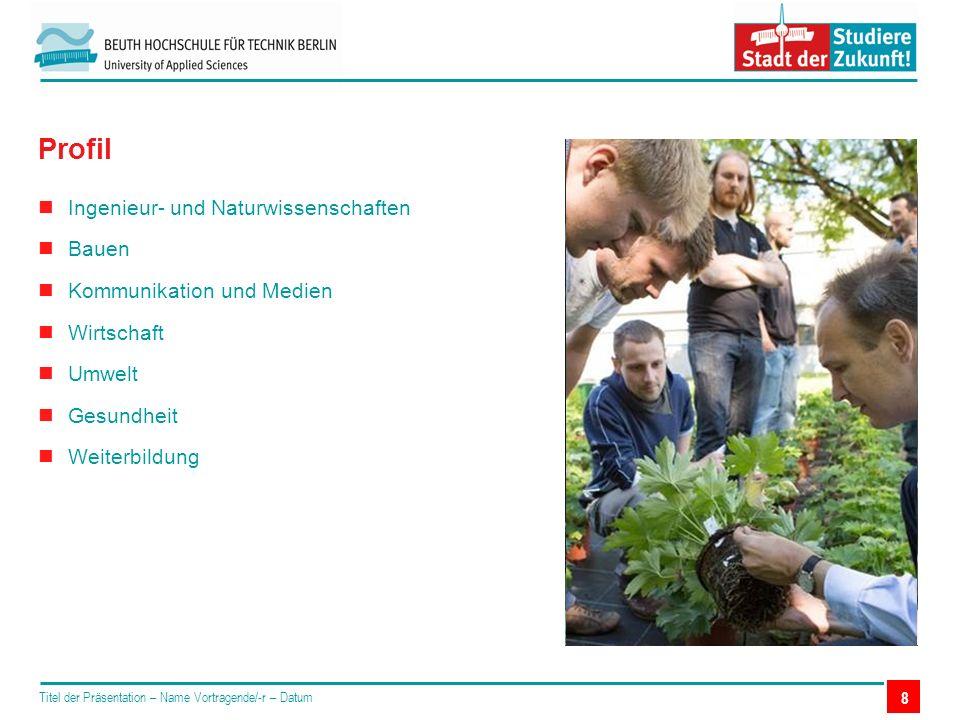 Ingenieur- und Naturwissenschaften Bauen Kommunikation und Medien Wirtschaft Umwelt Gesundheit Weiterbildung Titel der Präsentation – Name Vortragende/-r – Datum Profil 8