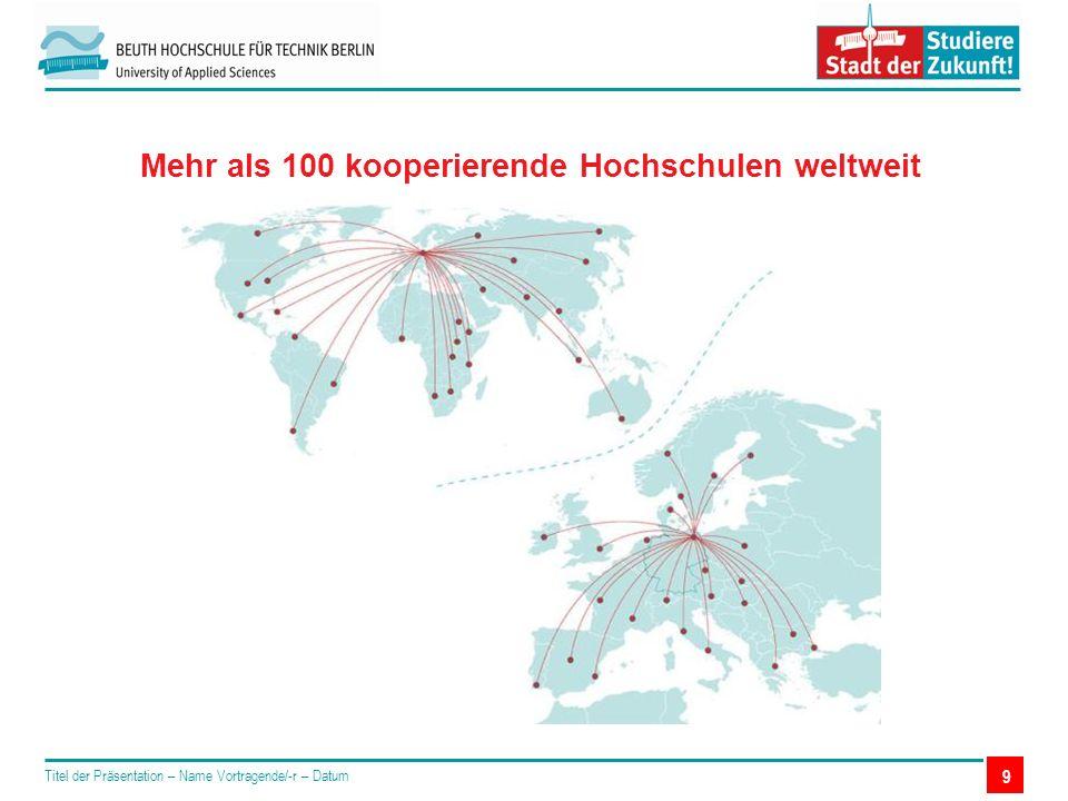 9 Mehr als 100 kooperierende Hochschulen weltweit Titel der Präsentation – Name Vortragende/-r – Datum