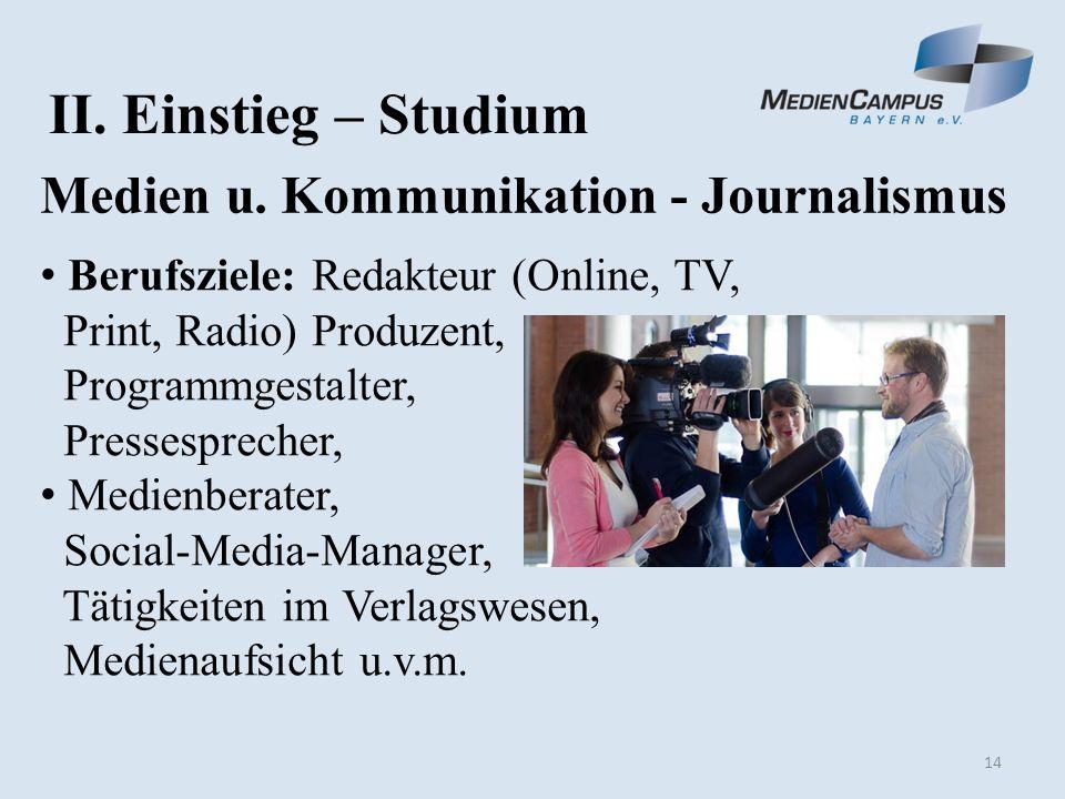 14 II. Einstieg – Studium Medien u.