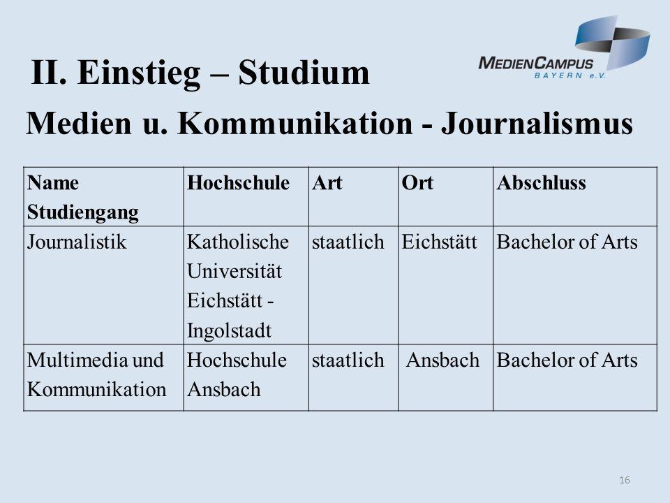 16 II. Einstieg – Studium Medien u.