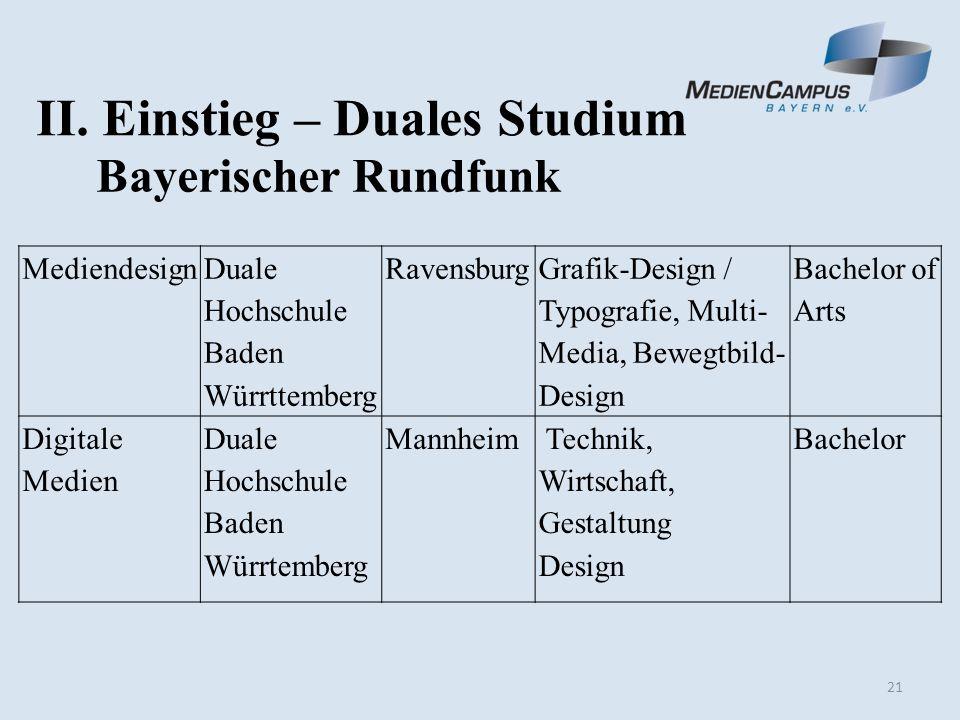 21 II. Einstieg – Duales Studium Bayerischer Rundfunk Mediendesign Duale Hochschule Baden Würrttemberg Ravensburg Grafik-Design / Typografie, Multi- M