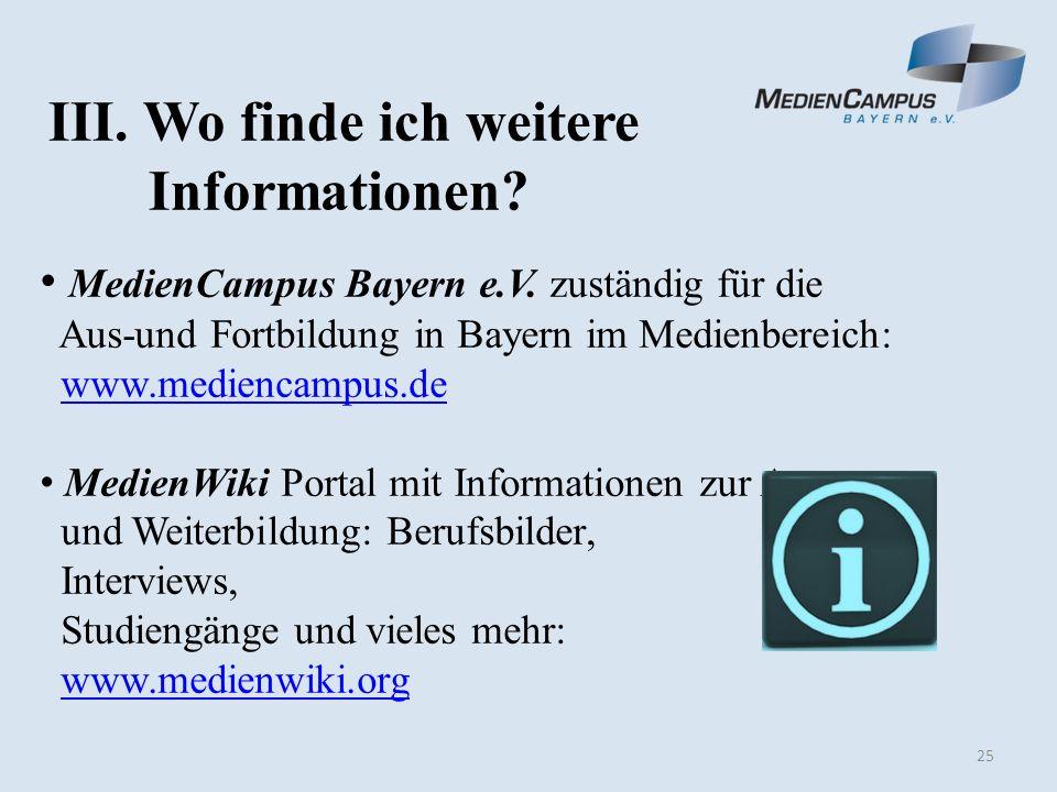 25 III. Wo finde ich weitere Informationen. MedienCampus Bayern e.V.