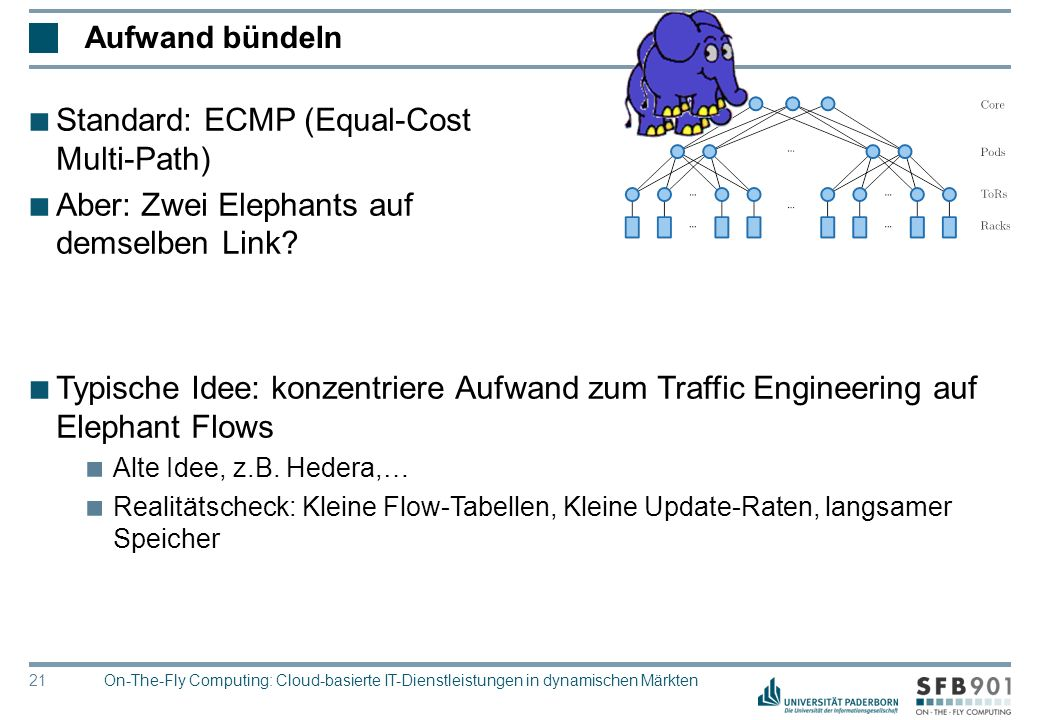 © Heinz Nixdorf Institut, Universität Paderborn 21 ■ Typische Idee: konzentriere Aufwand zum Traffic Engineering auf Elephant Flows ■ Alte Idee, z.B.