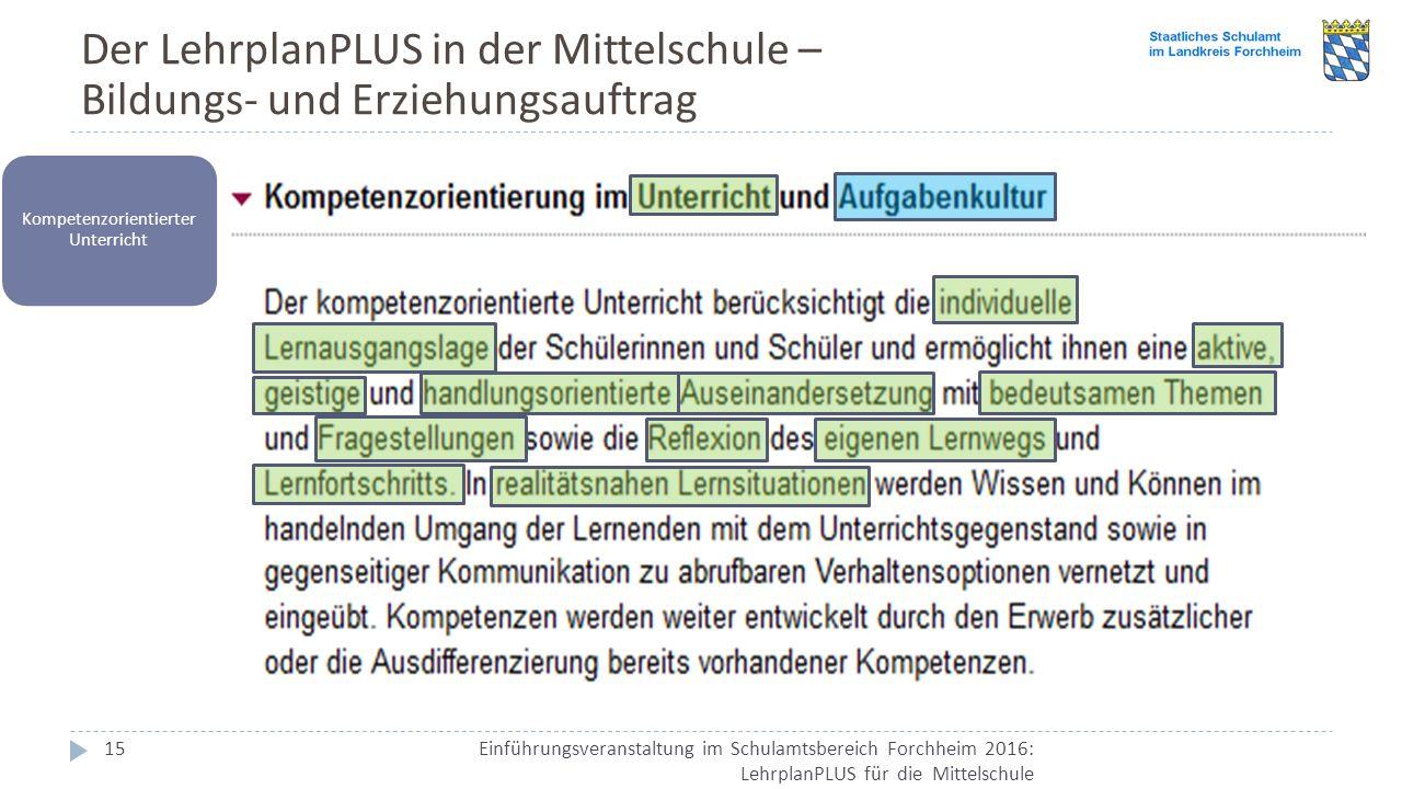 Der LehrplanPLUS in der Mittelschule – Bildungs- und Erziehungsauftrag Einführungsveranstaltung im Schulamtsbereich Forchheim 2016: LehrplanPLUS für d