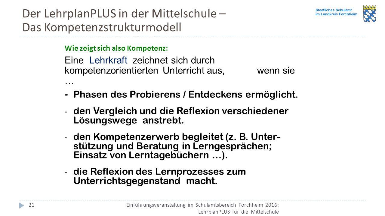 Der LehrplanPLUS in der Mittelschule – Das Kompetenzstrukturmodell Einführungsveranstaltung im Schulamtsbereich Forchheim 2016: LehrplanPLUS für die Mittelschule 21 Wie zeigt sich also Kompetenz: Eine Lehrkraft zeichnet sich durch kompetenzorientierten Unterricht aus, wenn sie … - Phasen des Probierens / Entdeckens ermöglicht.